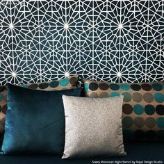 A Starry Moroccan Night Stencil inspired by the night skies of Marrakech! Simple yet delicate, this Moroccan Allover Stencil is sure to inspire some star-gazing