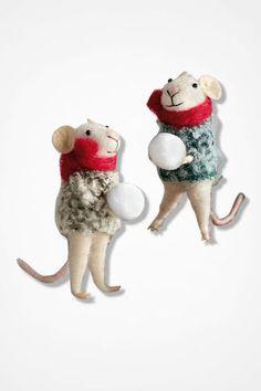 Winter Visitors Ornaments, White