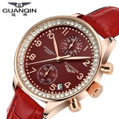 US $75.99 - GUANQIN brand Watch for women fashion vintage wristwatch leather dress watch lady quartz watch women rhinestone watches