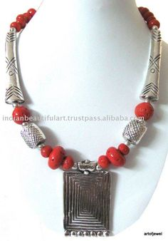 Beaded Jewelry Product | INDIAN TRIBAL METAL RED SILVER BEADED JEWELRY NECKLACE