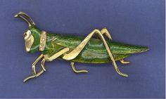vintage+POLCINI+Grasshopper+BUG+pin+Green+&+Gold+tone+#Polcini