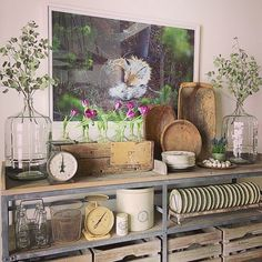 Our Chicken Feeder Plate Rack fits right in w Lucy's beautiful display. Thanks for sharing! #homedecor #decoratingideas