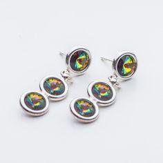 Swarovski Rivoli Earrings 6/6/6mm Vitrail Medium  Dimensions: length: 3,2cm stone size: 6mm Weight ( silver) ~ 3,30g ( 1 pair ) Weight ( silver + stones) ~ 3,95g Metal : sterling silver ( AG-925) Stones: Swarovski Elements 1122 SS29 ( 6mm ) Colour: Vitrail Medium 1 package = 1 pair  Price 9 EUR Sterling Silver Earrings Studs, Silver Jewelry, Stud Earrings, Swarovski, Crystals, Medium, Metal, Stones, Colour