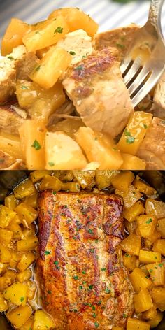Slow Cooker Pineapple Pork Loin - Sweet and Savory Meals Slow Cooker Pineapple Pork is delicious and tender, all you need is just 5 ingredients. A great family dinner with a tasty tropical twist. Crockpot Dishes, Crock Pot Cooking, Pork Dishes, Dinner Crockpot, Cooking Fish, Slow Cooker Pork Loin, Slow Cooker Recipes, Crockpot Porkloin Recipes, Pork Tenderloin Recipes Crockpot