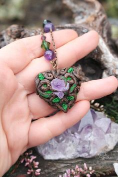 Amethyst heart pendant - fantasy heart necklace - wood heart - celtic heart - fimo - polymer clay
