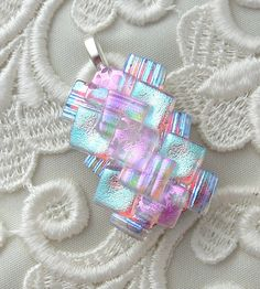 layered squares Dichroic Fused Glass Pendant Dichroic Glass by GalaxyGlassStudio Dichroic Glass Jewelry, Fused Glass Art, Glass Beads, Glass Necklace, Pendant Jewelry, Pink Pendants, Glass Pendants, Glass Fusion Ideas, Glass Design