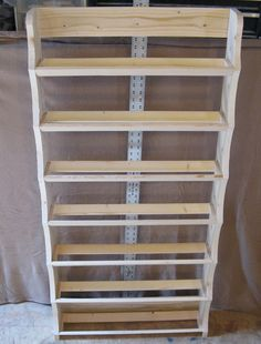 Ribbon rack 7 shelf by Wudls on Etsy Craft Ribbon Storage, Ribbon Organization, Sewing Room Organization, Craft Room Storage, Craft Rooms, Paint Storage, Organization Ideas, Space Crafts, Home Crafts