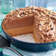 This no-bake chocolate pie is layered with fluffy whipped peanut butter and chocolate whipped cream.