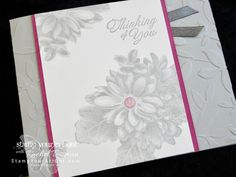 Click here for supplies, measurements AND to watch my quick video to see how to make this simple yet eye-catching card featuring Stampin' Up!'s #1 Sale-A-Bration stamp set: Heartfelt Blooms. I'll also share some simple basics for using the Big Shot embossing and die-cutting tool. If you've never used these Dynamic Embossing Folders, you will be amazed at the ease...#stampyourartout #stampinup - Stampin' Up!®️️ - Stamp Your Art Out! www.stampyourartout.com