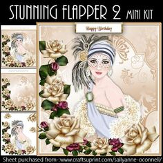 Stunning Flapper mini kit on Craftsuprint designed by Sallyanne O'Connell - Stunning card that is easy to make up. Lovely once done.Kit includes-: 3 sheets, decoupage elements, insert, card front, mini card or gift tag, topper and sentiments. Cut out smaller portions and attach to the main image using silicone or sticky pads.Thank you for looking and or purchasing. Please click on my name to see more of my wonderful designs...Sallyanne... - Now available for download!