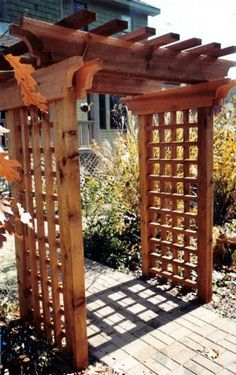 Beautiful, solid-looking pergola/arbor (could maybe support wisteria?)