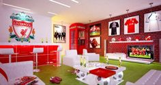 Soccer Bedroom Ideas Inspirational Liverpool Room Love This Design but Would Obviously Do Arsenal Instead Man Cave Room, Man Cave Diy, Man Cave Home Bar, Soccer Bedroom, Football Bedroom, Classy Man Cave, Soccer Decor, Bedroom Themes, Bedroom Ideas
