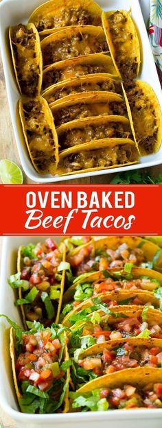 Taco's uit de oven met gehakt, sla en salsa