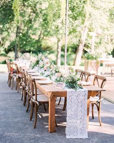 Who says you need fancy tablecloths on your reception tables? A simple runner, like this pretty lace one, will do just fine. Reception Table, Reception Decorations, Event Decor, Lace Table Runners, Botanical Wedding, Wedding In The Woods, Garden Gates, Destination Wedding Photographer, Wedding Styles