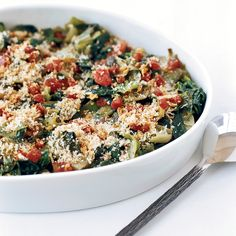 Chef Way Andrew Carmellini prepares this dish with homemade bread crumbs and hard-to-find Sicilian oregano.  Easy Way Top spicy greens with crispy p...