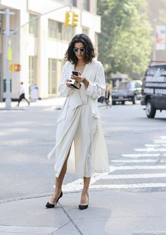 women style outfit clothes fashion apparel all white summer fall heels sunglasses