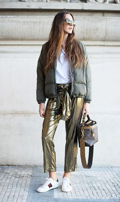 Gold metallic pants + bomber jacket