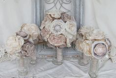 Bridal  Bouquet Package Rhinestone Brides by BurlapandBlingStudio, $350.00
