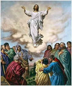 Jesus ascends into heaven while his eleven disciples look on.