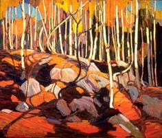 """Thomas John """"Tom"""" Thomson was an influential Canadian artist of the early century. He directly influenced a group of Canadian painters that would come to be known as the Group of Seven. (Wikipedia) (""""The Birch Grove"""" by Tom Thompson) Emily Carr, Canada Landscape, Landscape Art, Landscape Paintings, Group Of Seven Artists, Group Of Seven Paintings, Canadian Painters, Canadian Artists, Art Gallery Of Hamilton"""