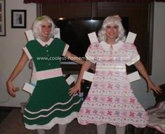 How cute and inexpensive to make paperdoll costumes for Halloween! I used to LOVE paper dolls when I was little.
