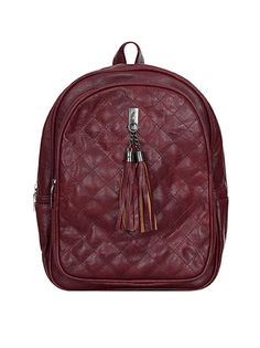 Quilted backpack with tassels wine red Leather Backpack, Backpacks, Bags, Fashion, Purses, Moda, Leather Book Bag, Fashion Styles, Leather Backpacks