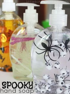 Make washing your hands a scary affair. Simply add Halloween items to your favorite hand soap – we suggest small pumpkin, bats, eyeballs, or spiders – and stir with skewers.