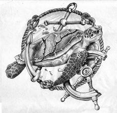 Sea Tortoise Tattoo Design by GriffonGore on DeviantArt - Trend Tattoo Ocean 2019 Sea Tattoo Sleeve, Nautical Tattoo Sleeve, Nautical Tattoos, Marine Tattoos, Navy Tattoos, Tribal Tattoos, Tattoo Pez, Tattoo Drawings, Forearm Tattoos