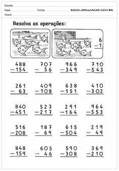 Atividades de Matemática 3º ano – Adição e Subtração - PARA IMPRIMIR — SÓ ESCOLA 1st Grade Math Worksheets, Math 2, Class 1 Maths, Abacus Math, Math Subtraction, Math Sheets, Primary Maths, Second Grade Math, Preschool Learning
