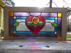 Victorian Heart Rose Leaded Stained Glass Window | eBay