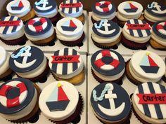 Nautical themed cupcakes.  Cupcakes: Sugar Bee Sweets Bakery