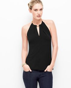 Satin Jersey Chain Halter Top l Ann Taylor The perfect top to wear out-and-about tonight!