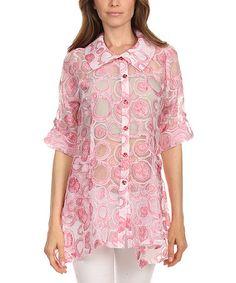 Look at this #zulilyfind! Pink Circles Sheer Button-Up - Plus Too #zulilyfinds
