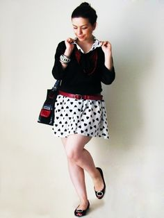 Outfit - black flats; hearts dress; red belt; red beige black bag; black sheer blouse; red statement necklace