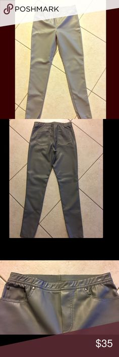 NWOT Diane Gilman DG2 gray pleather leggings New DG2 leggings with pockets (front and back) that I received for Christmas but only sat in the closet, as they are are not my style. NWOT, never worn. Size 6, fits up to size 6. Elastic waistband. Soft gray pleather (polyurethane, cotton, and a little spandex). 29 in long from crotch to end of pant leg. Diane Gilman Pants Leggings