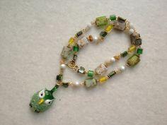 Owl Glass Necklace by hebaalayyan on Etsy, $21.00
