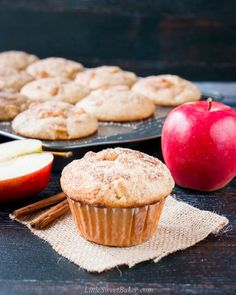 These homemade apple cinnamon muffins are soft and moist with a sweet cinnamon finish. They are easy to make and loaded with tender chunks of apples! The perfect breakfast or grab-n-go snack! Apple Cinnamon Muffins, Cinnamon Apples, Apple Recipes, Baking Recipes, Muffin Recipes, Bread Recipes, Yummy Recipes, Matcha, Easy Apple Muffins