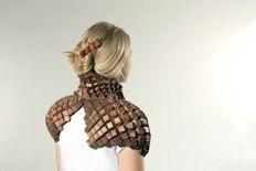 Tine DeRuysser Shoulder Cape,Copper and polyester