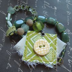 Asymmetrical Green Necklace with Repurposed by dwhitecreations, $25.00
