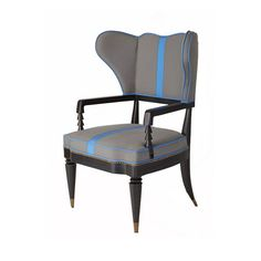 Fleurie Collection upholstered armchair in grey and blue by iBalDesigns, Bali