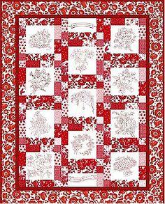 Free quilt pattern: Redwork Garden · Needlework News | CraftGossip.com