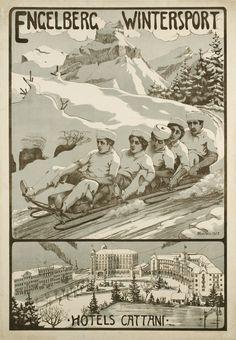 Engelberg wintersport, Hotels Cattani – Affiche ancienne – Wilhelm AMRHEIN – 1905