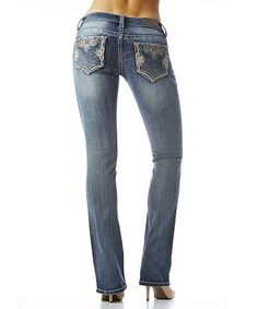 Loving this Light Blue Embellished Bootcut Jeans on #zulily! #zulilyfinds
