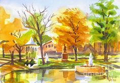 Autumn at the Villa in watercolor