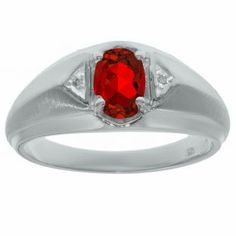 Sterling Silver Diamond & Ruby Ring For Men Gemologica.com offers a unique selection of mens gemstone and birthstone rings crafted in sterling silver and 10K, 14K and 18K yellow, white and rose gold. We have cool styles including wedding and engagement rings, fashion rings, designer rings, simple stone and promise rings. Our complete jewelry collection of gemstone rings for men can be seen here: www.gemologica.com/mens-gemstone-rings-c-28_46_64.html