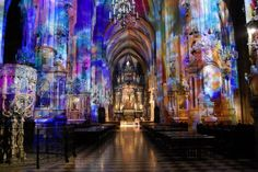 Reflections of stained glass in St. Stephen's Cathedral - Vienna, Austria