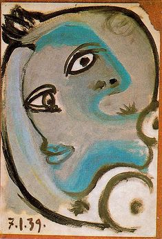 Head of a woman, 1939, Pablo Picasso  Size: 43x29 cm  Medium: oil on canvas