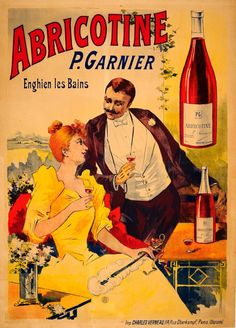 An original vintage advertising poster for Abricotine, an apricot flavored brandy produced by the House of Garnier in France. The image features a woman wearing a fashionable yellow dress while holding a glass of the drink in one hand and a gentleman standing next to her wearing a black suit, also holding a glass of the drink.