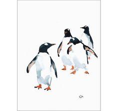 Penguins  Original Watercolor Painting 9 x 12 inches Aquatic