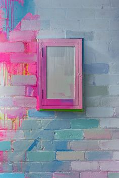 Close up section of a vibrant outdoor mural with pops of neon pink, green and blue. The paint covers the bricks and objects of the wall, creating one giant outdoor canvas. Deco Surf, Ideias Diy, Creative Portfolio, Paint Designs, House Colors, Decoration, Diy Home Decor, Interior Decorating, Bedroom Decor